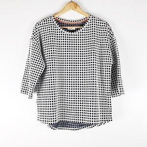 Lou & Gray Grid Textured Mid-Sleeve Sweater Sz L